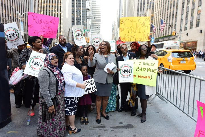 Public Advocate Letitia James held a press conference on April 12 in front of Fox News headquarters to demand the network inv
