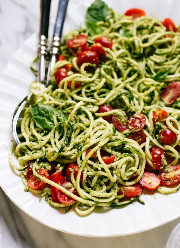 """<strong>Get the <a href=""""http://cookieandkate.com/2016/zucchini-noodles-with-pesto-recipe/"""" target=""""_blank"""">Zucchini Noodles"""
