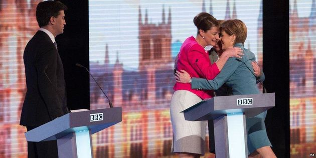 From left to right: Ed Miliband, Leanne Wood, Natalie Bennet and Nicola