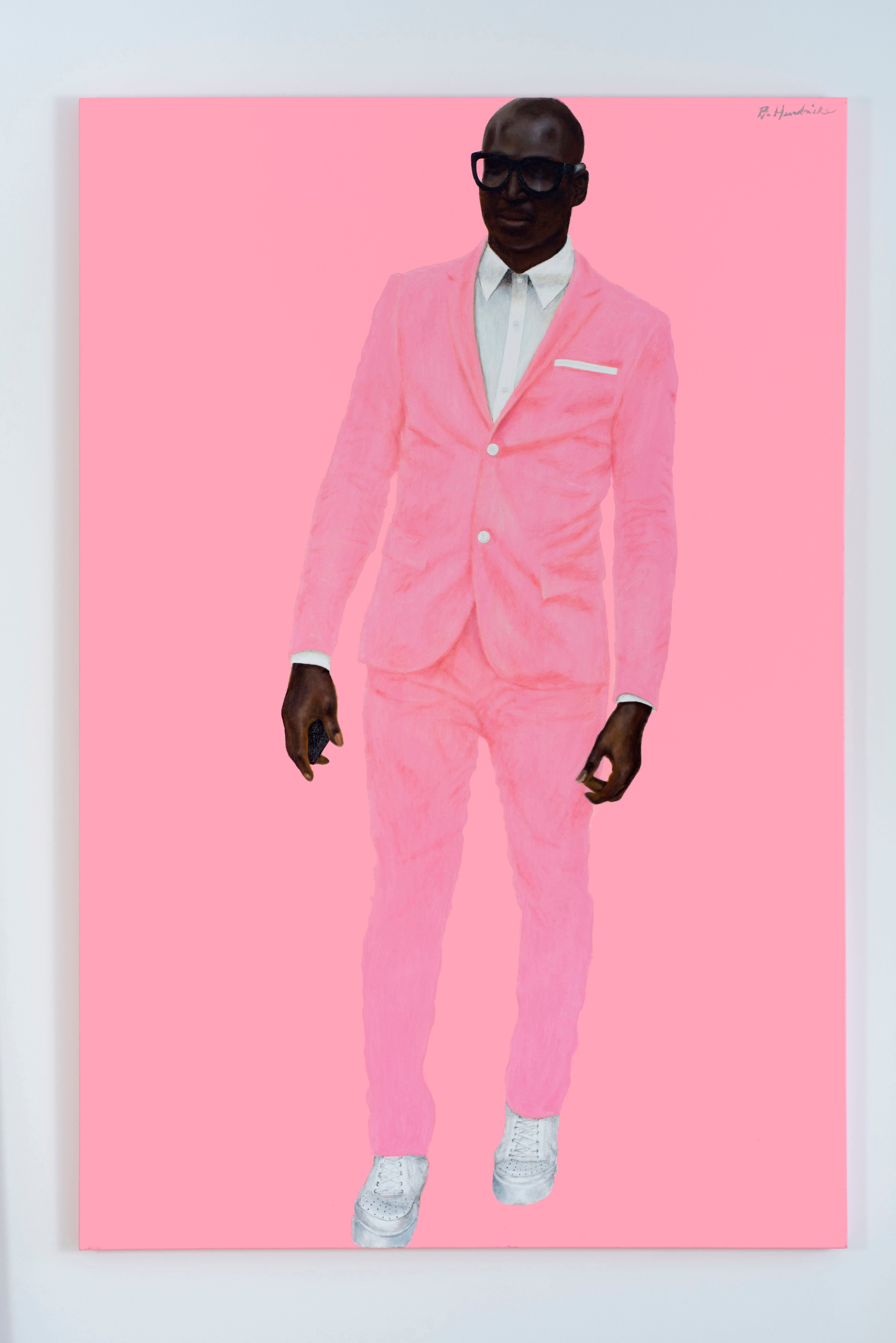 "Barkley L. Hendricks, ""Photo Bloke,"" 2016, oil and acrylic on linen, 72 x 48 inches."