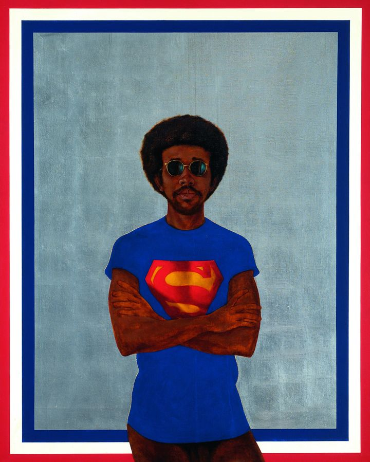 "Barkley L. Hendricks, ""Icon for my Man Superman (Superman Never Saved Any Black People-Bobby Seale),"" 1969, oil, acrylic and"