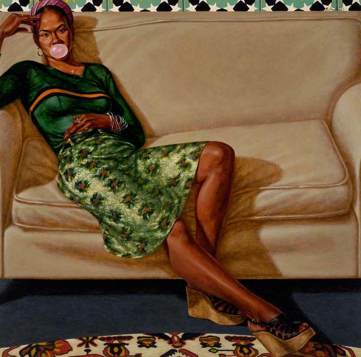 "Barkley L. Hendricks, ""Sweet Thang Lynn Jenkins,"" 1975-1976, oil on linen, 52 x 52 inches."