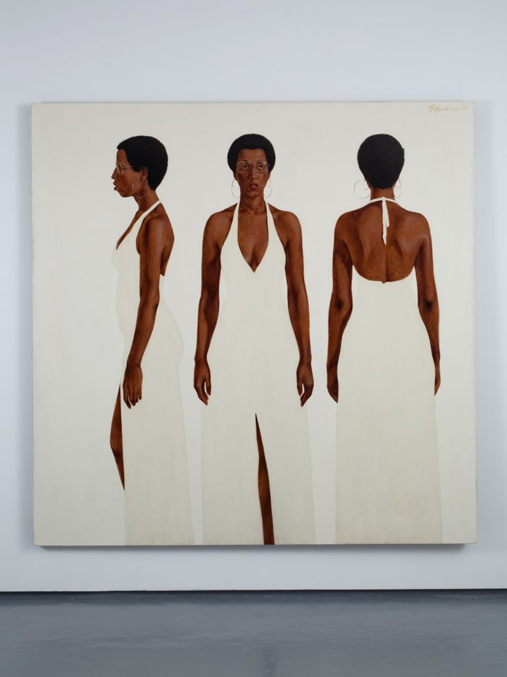"Barkley L. Hendricks, ""October's Gone... Goodnight,"" 1973, oil and acrylic on linen canvas, 72 x 72 inches."