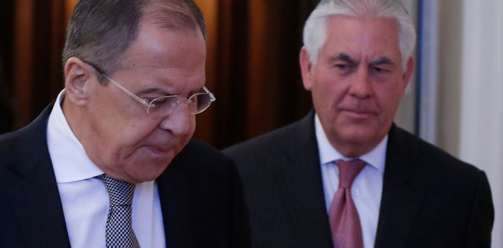 Russian Foreign Minister Sergei Lavrov and US Secretary of State Rex Tillerson in Moscow, April 12 2017.