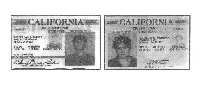 Fake California driver's licenses allegedly created by David Daleiden and Sandra Merritt.