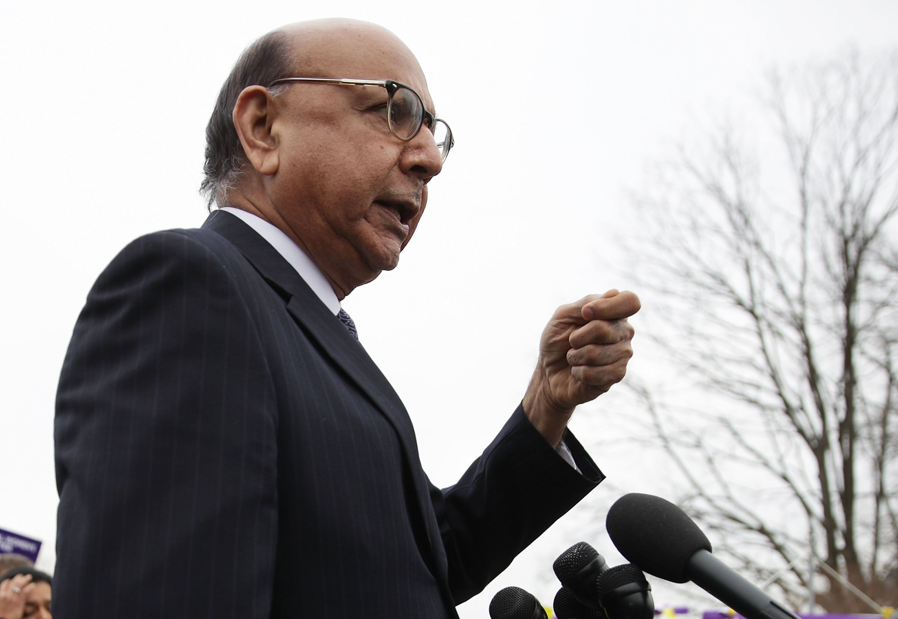 WASHINGTON, DC - FEBRUARY 01:  Gold Star father Khizr Khan speaks during a news conference in front of the Capitol February 1, 2017 on Capitol Hill in Washington, DC. Rep. Keith Ellison (D-MN) hosted the press conference to discuss President Donald Trump's travel ban, which prevents immigrants and refugees from seven Muslim-majority countries from entering the U.S,  and objections to Senator Jeff Sessions' nomination to the position of Attorney General.  (Photo by Alex Wong/Getty Images)