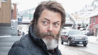 PARK CITY, UT - JANUARY 22:  Nick Offerman is sighted during the Sundance Film Festival on January 22, 2017 in Park City, Utah.  (Photo by Mat Hayward/GC Images)