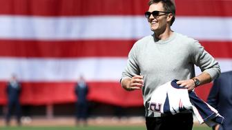 BOSTON, MA - APRIL 3: Tom Brady #12 of the New England Patriots looks on after throwing out the first pitch before the opening day game between the Boston Red Sox and the Pittsburgh Pirates at Fenway Park on April 3, 2017 in Boston, Massachusetts. (Photo by Maddie Meyer/Getty Images)