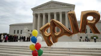 WASHINGTON, DC - APRIL 19: Ballons are setup for a rally as people wait to enter the US Supreme Court, on April 19, 2017 in Washington, DC. Today the high court is hearing oral arguments from Alliance Defending Freedom in the Trinity Lutheran Church of Columbia v. Comer case about a religious preschool that was rejected from a state program that provides reimbursement grants to purchase rubberized surface material for childrenÕs playgrounds  (Photo by Mark Wilson/Getty Images)