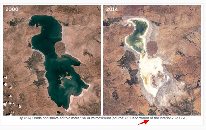 Lake Urmia, Iran. Iran's largest salt lake. Left image taken in 2000.  Right image taken in 2014.
