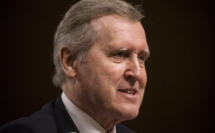 Former Secretary of Defense William Cohen testifies on behalf of retired Marine Corps General James Mattis before the Senate