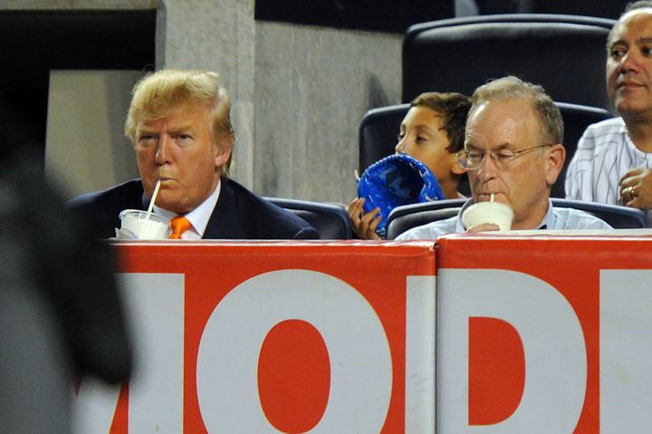 Donald Trump and Bill O'Reilly drink milkshakes at a New York Yankees game in 2010.