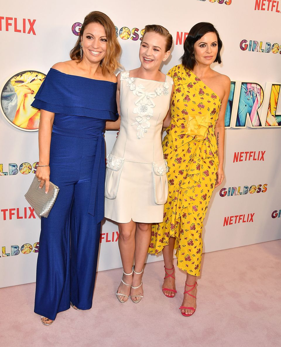 HOLLYWOOD, CA - APRIL 17:  Kay Cannon, Britt Robertson, Sophia Amoruso arrives at the Premiere Of Netflix's 'Girlboss' at Arc