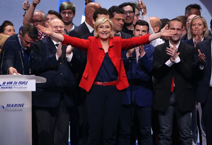 Marine Le Pen at a campaign rally in Paris, on April 17.