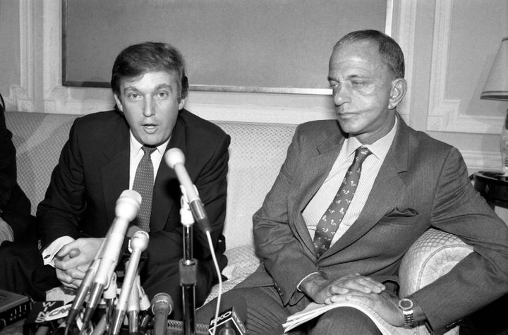 Trump and Ray Cohn, his attorney at the time of his league's antitrust lawsuit.<br><i></i>