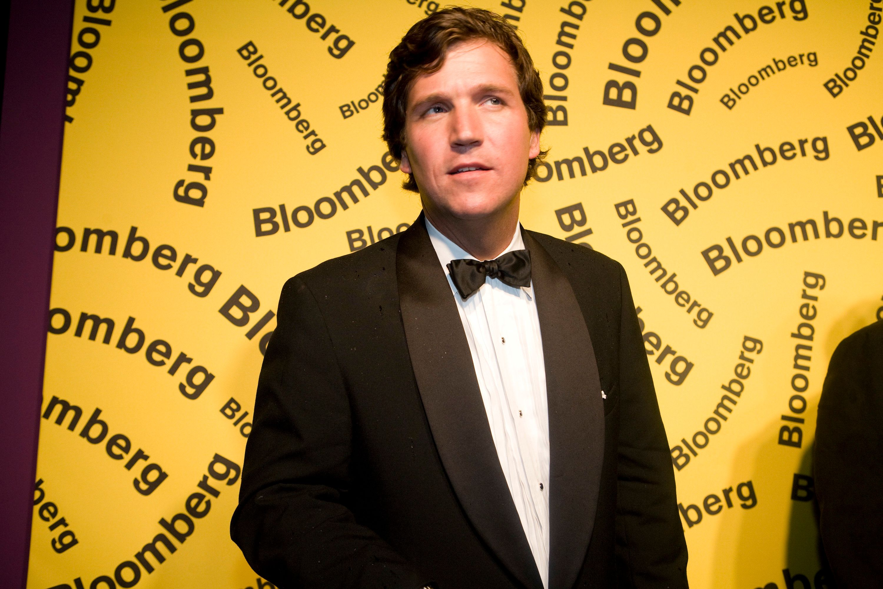 WASHINGTON - APRIL 26: TV host Tucker Carlson arrives at the Bloomberg afterparty following the White House Correspondents' Dinner April 26, 2008 in Washington, DC.  (Photo by Brendan Hoffman/Getty Images)