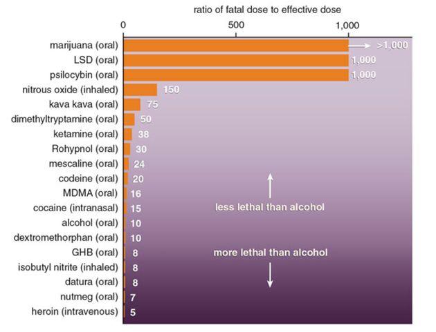 El alcohol es mucho más tóxico que muchas otras drogas ilícitas.