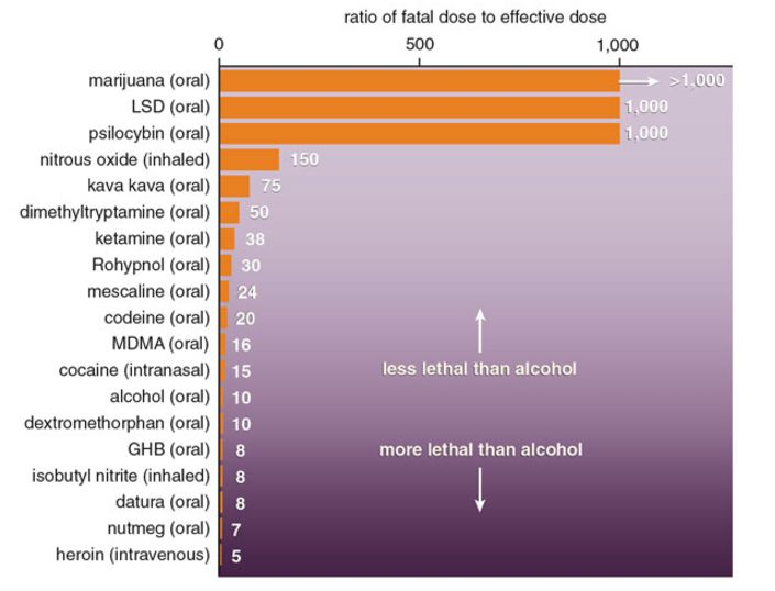 Alcohol is far more toxic than several popular illicit drugs.