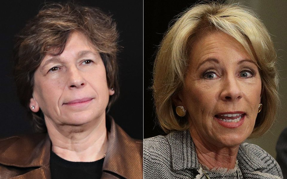 Randi Weingarten left and Betsy Devos
