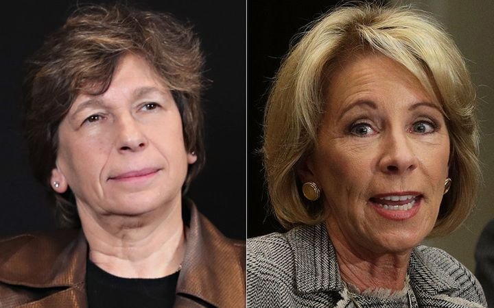 Labor leader Randi Weingarten, left, and Secretary of Education Betsy DeVos, right, visited a public school district in Ohio