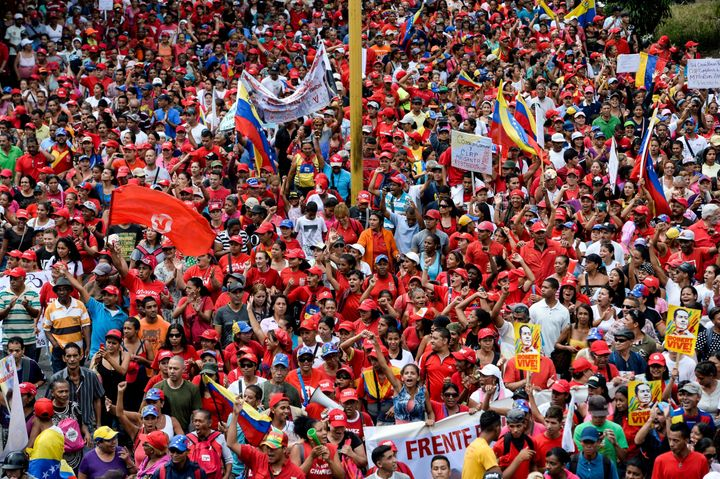 Supporters of Venezuelan President Nicolas Maduro take part in a counter-demonstration in Caracas.