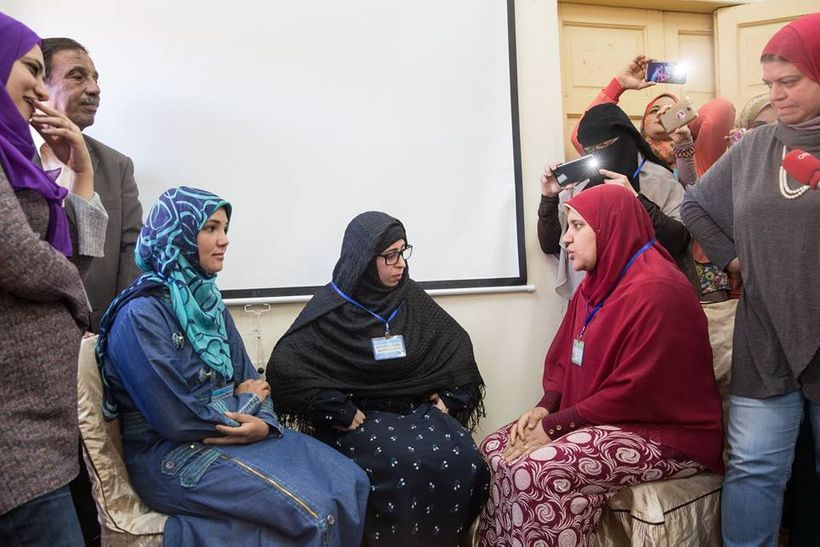 Women during a role-play highlighting issues faced by them, including FGM.