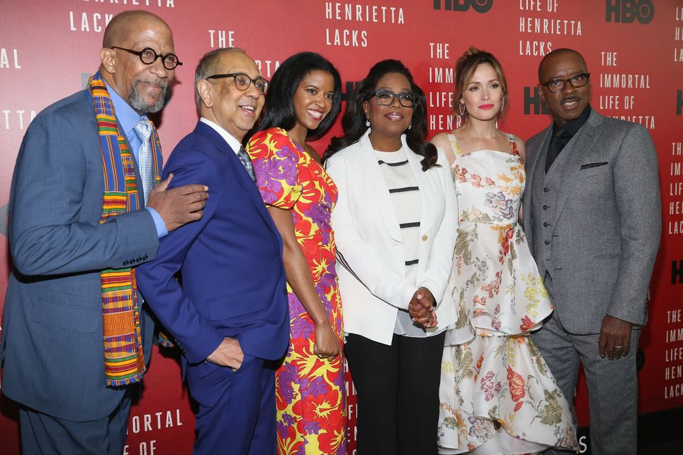 "Reg E. Cathey, George C. Wolfe, Renee Elise Goldsberry, Oprah Winfrey, Rose Byrne and Courtney B. Vance attend ""The Immo"
