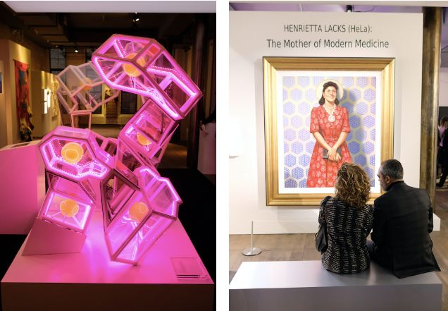 """The HeLa Project"" is a multimedia exhibit that features interactive lessons, life-sized DNA molecules, left, and a special p"