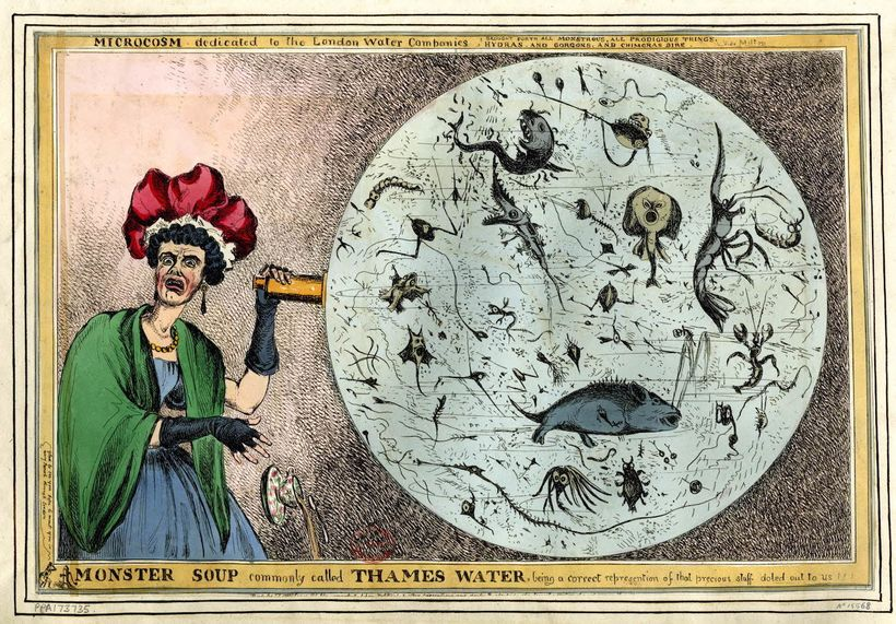 <em>A satirical interpretation of Thames pollution during the early 19th century.</em>