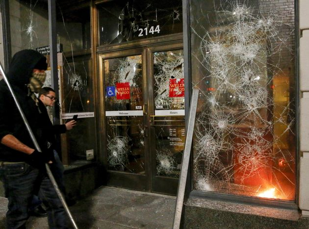 Fires were set and objects were hurled at officers at Berkeley over Milo's