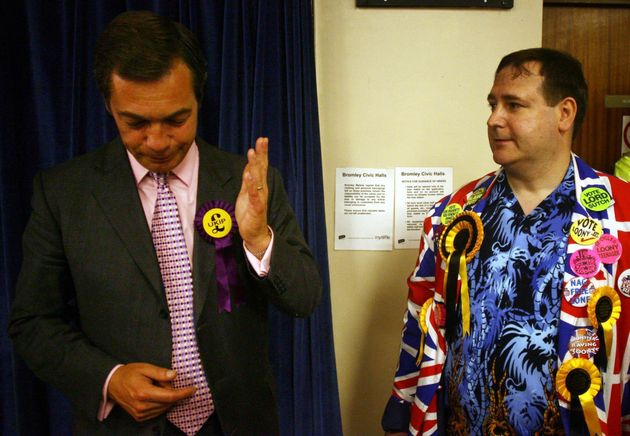 Farage speakswith Monster Raving Loony supporter, Lord Toby Jug, during the 2005