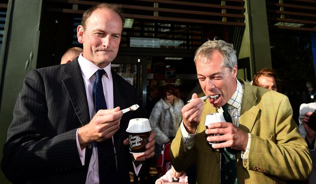 Douglas Carswell and Nigel Farage eat a McFlurry while on the campaign trail in