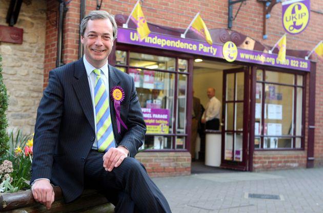 Nigel Farage outside the party's office in the Buckinghamshire market