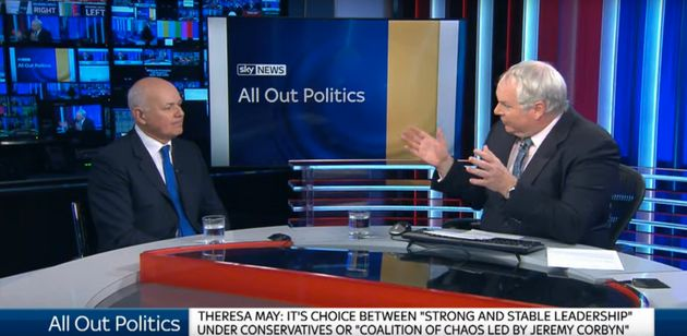 Adam Boulton (right) was accused of going soft on Iain Duncan Smith (left) on