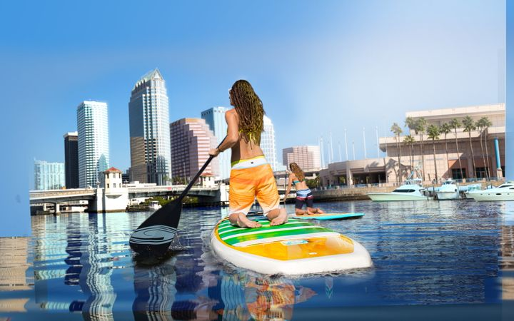 Paddleboarding in Downtown Tampa.