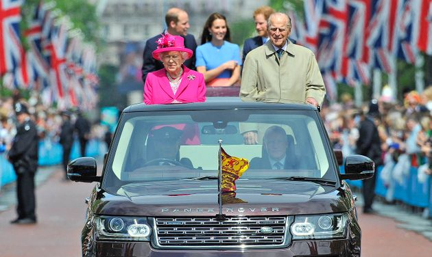 The Queen makes her way down the Mall during her birthday celebrations in