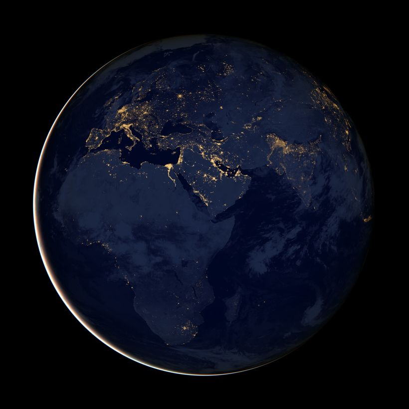 Africa at night from NASA's Earth Observatory