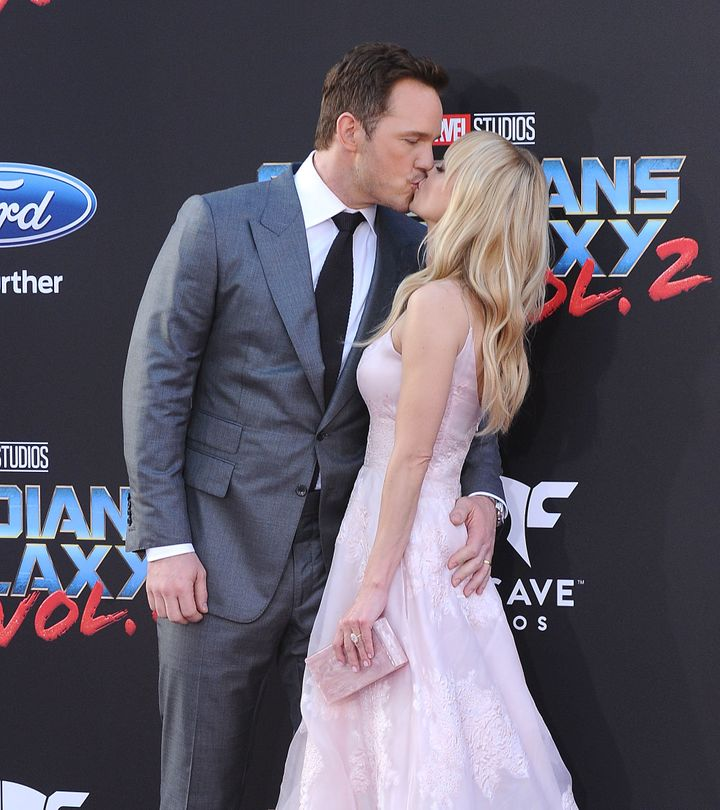 """Chris Pratt and actress Anna Faris attend the premiere of """"Guardians of the Galaxy Vol. 2."""""""