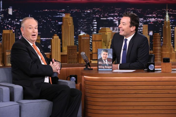 """Bill O'Reilly promotingone of his many books, """"Killing Reagan,"""" during an interview with Jimmy Fallon in 2015."""