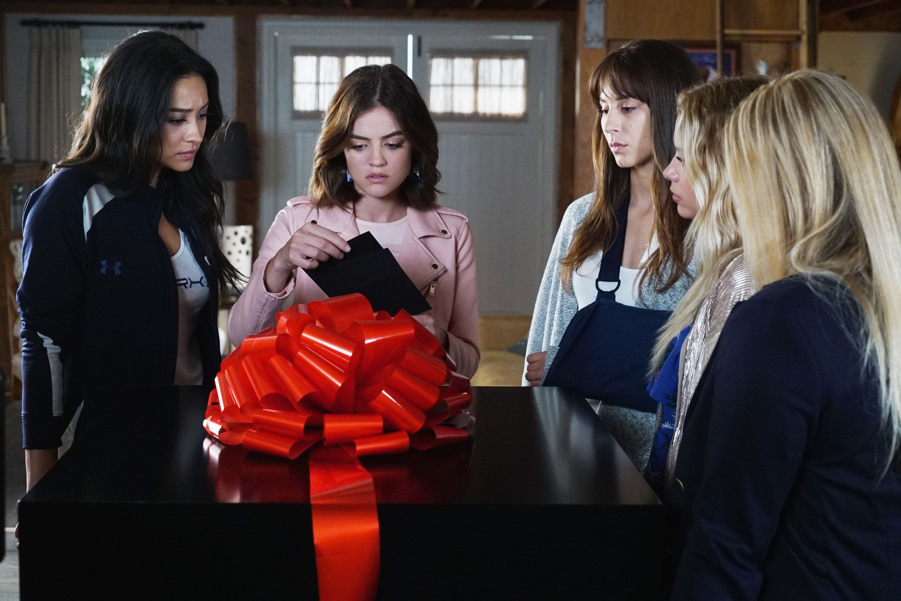PRETTY LITTLE LIARS - 'PlAytime' - After Noel Kahn's abrupt death, the Liars try putting their lives back together again in 'Playtime,' the first of the final ten episodes of Freeform's hit original series 'Pretty Little Liars,' airing TUESDAY, APRIL 18 (8:00 - 9:02 p.m. EDT). Fans can catch up on where the Liars left off with an all-day marathon of season seven starting at 11:00 a.m. EDT and running up to the one-hour spring premiere at 8:00 p.m. EDT. (Eric McCandless/Freeform via Getty Images) SHAY MITCHELL, LUCY HALE, TROIAN BELLISARIO
