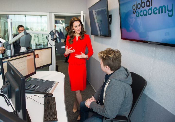 Duchess of Cambridge meets student James McJannett-Smith in a radio studio during the official opening of the Global Academy in Hayes, London on 20 April 2017.