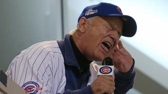 Actor Bill Murray sings 'Take Me Out to the Ball Game' during Game 3 of the World Series between the Chicago Cubs and Cleveland Indians on Friday, Oct. 28, 2016, at Wrigley Field in Chicago. (John J. Kim/Chicago Tribune/TNS via Getty Images)