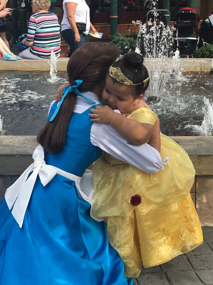 "The day she met Belle, Daisy wore a yellow gown just like Belle does in ""Beauty and the Beast."""