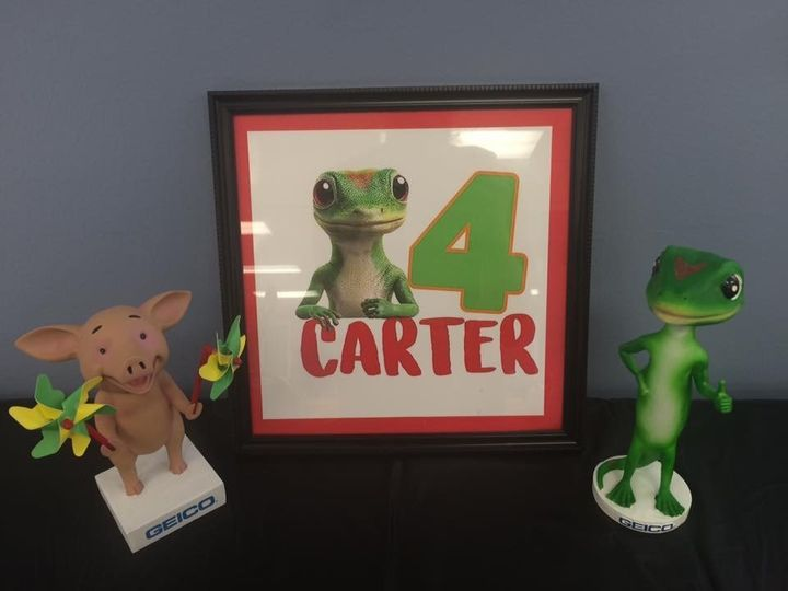 Carter rang in his fourth birthday with a Geico-themed party.