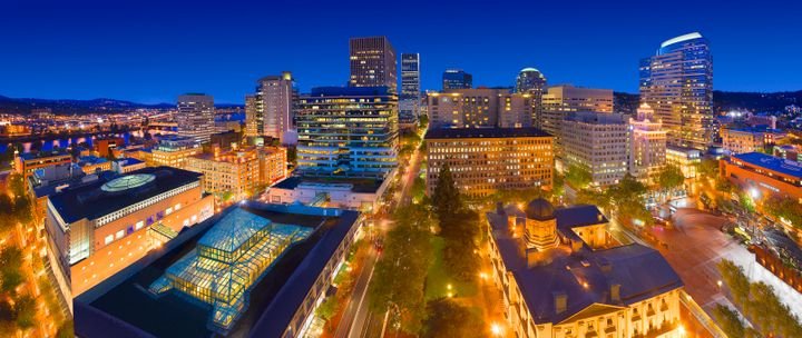 A panoramic view of downtown Portland, Oregon