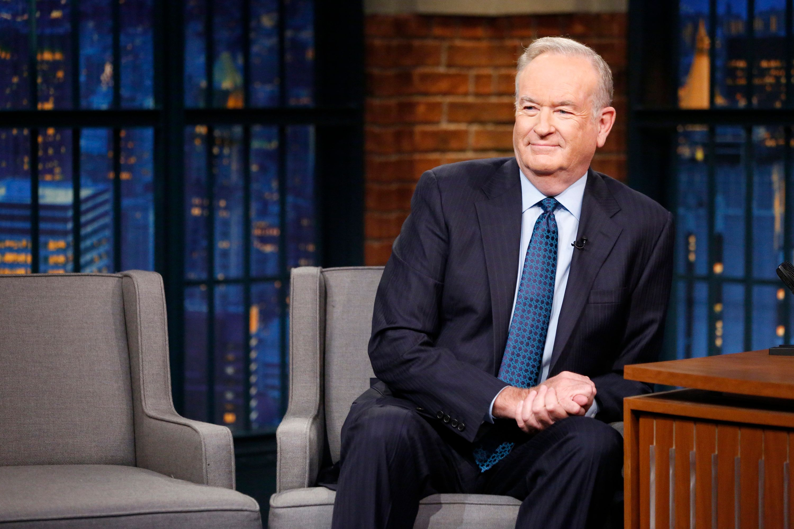 LATE NIGHT WITH SETH MEYERS -- Episode 392 -- Pictured: Political commentator, Bill O'Reilly, during an interview on July 13, 2016 -- (Photo by: Lloyd Bishop/NBC/NBCU Photo Bank via Getty Images)