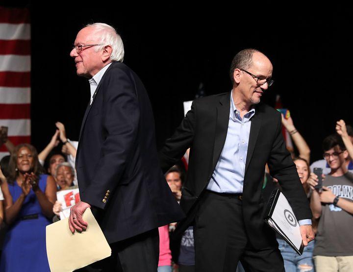 Sen. Bernie Sanders (I-Vt.) and DNC Chair Tom Perez.