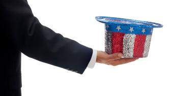 This is a conceptual image relating to the government collecting taxes and the US Deficit. The photo is isolated on a pure white background.click on the links below to view lightboxes.