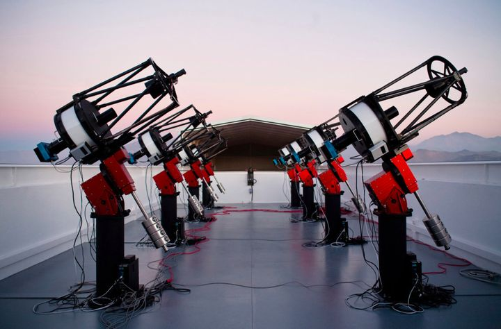 The MEarth-South telescope array in Chile, which discovered the super-Earth LHS 1140b.
