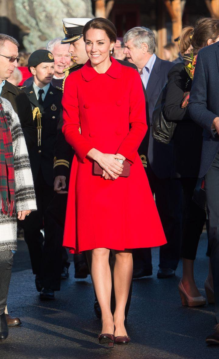 In a Carolina Herrera coat in Whitehorse, Canada, on 28 September 2016.